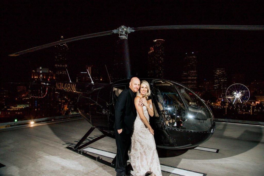 Helicopter Wedding Exit, Skyline Atlanta Wedding View, Brittany & Christopher's Wedding | Ventanas – Atlanta, GA
