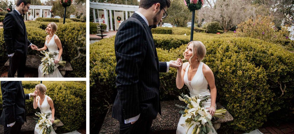 Bride and groom first look Valdosta Georgia