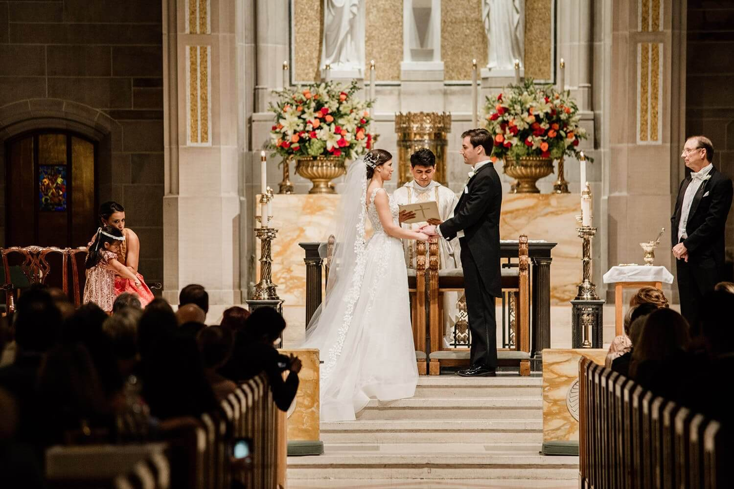 Wedding couple at The Cathedral Of Christ The King