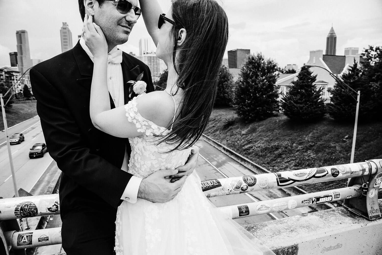 wedding couple at the Jackson Street Bridge