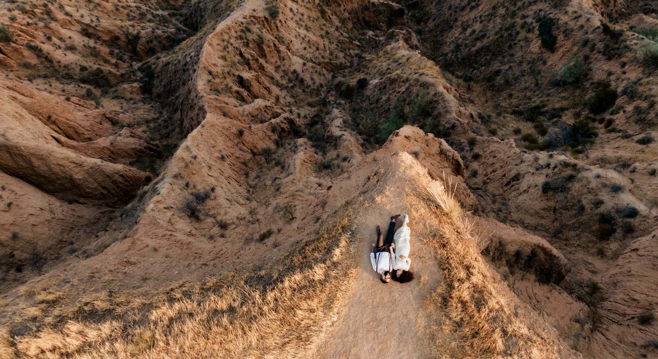drone shot bride and groom